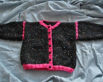Black and Pink for baby, knitted vest hand size 6 months