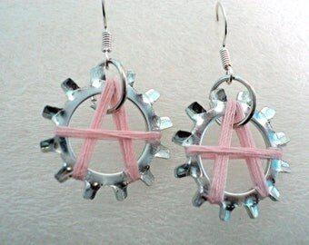 Pink Threaded Letter Star Lock Washer Earrings