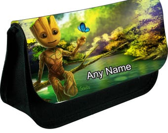 Personalised i am Groot zipped pencil makeup case school ds bag gift xmas
