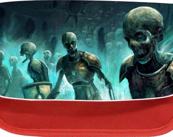 Personalised Zombie skeliton army zipped pencil makeup case school ds bag gift xmas