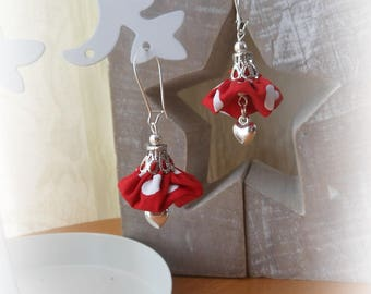 Fabric Earrings red heart charm white dots
