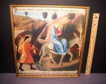 """vintage print titled """"The Flight into Egypt"""" done by; Fra' Angelico -- Mary, Jesus and Joseph"""