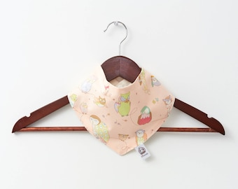 pink bird bib %100 cotton