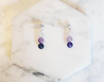 Mother's Day Gift, Fluorite Bead Earrings, Gemstone Bead Earrings, Silver and Purple Earrings