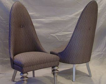 Silver Slipper Side Chairs Set of 2
