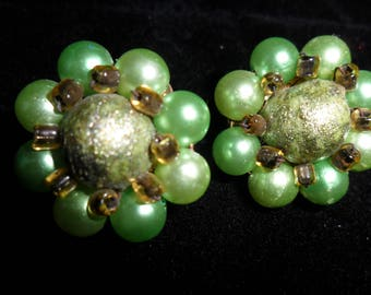 Japan Vintage 1960's Clip on Earrings Green (two shades) and Gold