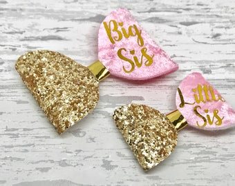 Sister's matching bow set, toddler glitter hair bow set, personalised baby headband, pigtail set, big sis, little sis