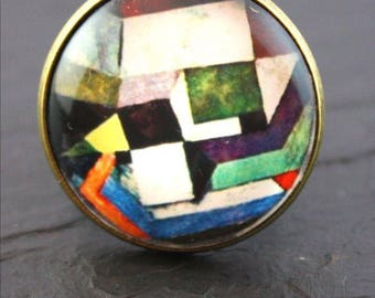 Paul Klee glass cabochon ring