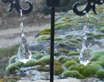 Earrings, 925 sterling silver, baroque Swarovski Crystal, crystal earrings