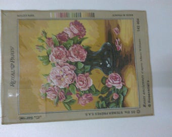 """""""Canvas embroidery""""Roses anciennes""""45 x 60cm"""""""