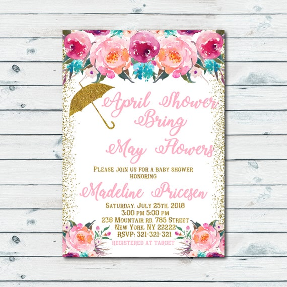 April showers bring may flowers pink and gold baby shower like this item filmwisefo