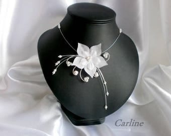 Lana - Wedding silk flower and white pearls necklace