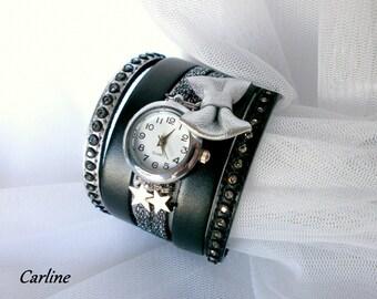 Watch leather cuff original * Ella * black rhinestone silver