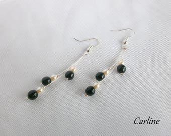 Cascadia - Earrings pearls ivory and black
