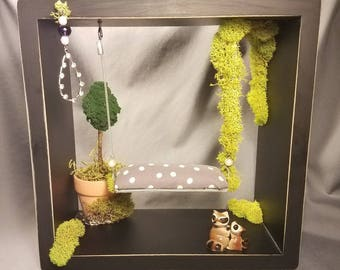 Handmade Miniature Bench Swing Shadow Box with Potted Tree, Wind Chime, & Raccoon Family; Wall Hanging, 1:12 Scale, Fairy and/or Dolly Hobby