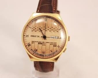 Vintage RAKETA College Calendar Very RARE Soviet Mechanical Wristwatch  Gold Plate
