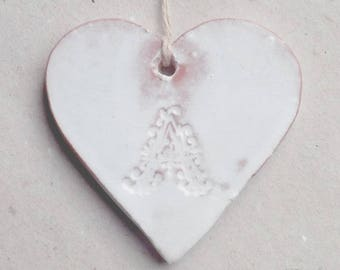 Small white patina red ceramic heart shabby chic style, A monogram, to hang