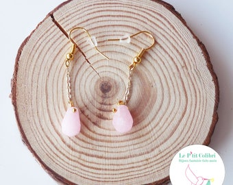 "Earrings ""my little Jade rose"" gold"
