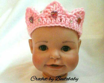 Little princess 0 to 3 month crochet baby tiara 3 spike
