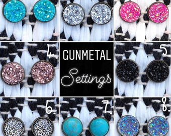 Gunmetal settings//druzy styled earrings