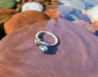 Labradorite and Garnet Ring