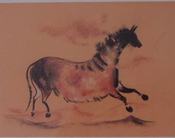 The cave of Lascaux horse wall print.