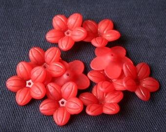 Red x 2,1 cm 10 acrylic flower beads