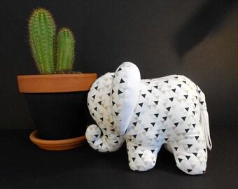 White cotton geometric decorative elephant