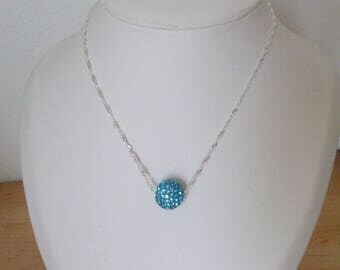 Gold filled Turquoise Blue with silver chain 40cm necklace.