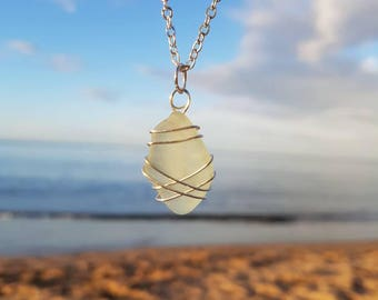 White Sea Glass Necklace, Seaglass Pendant, Beach Jewellery, Ocean Jewelry