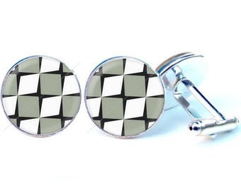 Cufflinks - graphic 2 glass cabochon