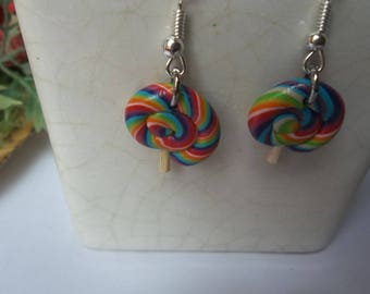 Lollipop with polymer clay earring