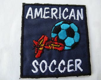 vintage applique sport american soccer 9022.3 blue patch badge for customization sewing craft or sewing