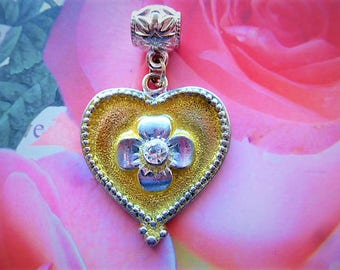 heart charm retro silver metal and strass on bélière pandora jewelry and decoration