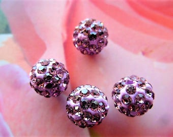 2 pearls shamballa paste Pink Purple crystal earrings antique 10 mm for creating jewelry