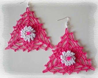 Earrings crocheted earrings, ears, gift idea for woman, gift, pink triangle jewelry, Pearl