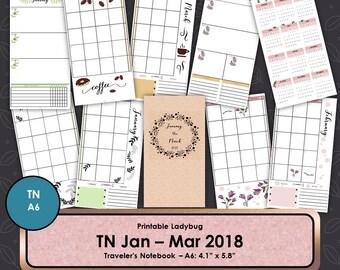 Travelers Notebook,2018 Calendar,Travelers Journal,Bullet Journal,TN Inserts,Travelers Notebook Inserts,A6 Travelers Note,A6 TN,A6 Planner