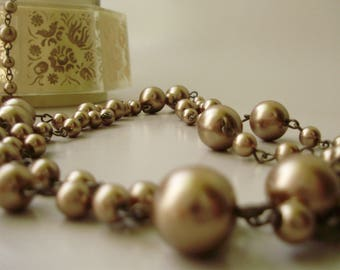 "Vintage jewelry,30"" long faux pearl necklace"