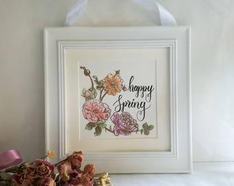"""Happy spring"" white frame, wall decor"