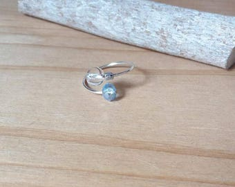 Thin ring adjustable silver plated, Crystal and glass