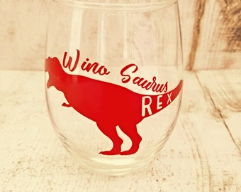 Wino Saurus Rex Stemless Wine Glass