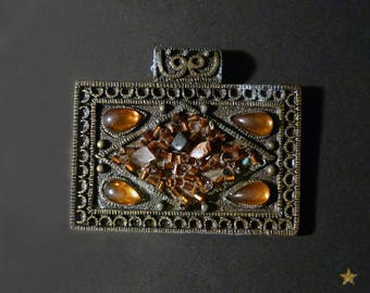 1 large cashmere bronze cloisonne pendant, amber colored beads