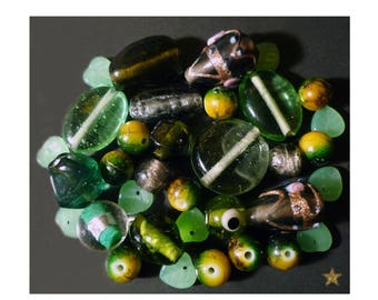 Indian and various shapes green Czech glass beads