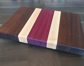 Edge Grain Cutting Board - Walnut/Purpleheart/Maple