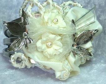 Ivory bridal bracelet, silver cuff