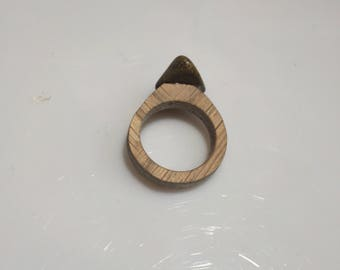 Ring made of wood and Jasper