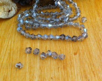 20 small grey bicone beads transparent, 4 x 4 mm Crystal