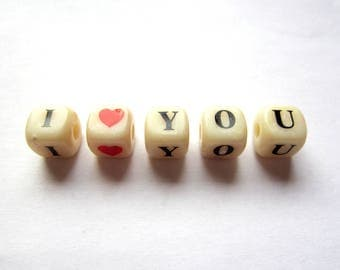 Beads drilled dice I Love You - black writing on ivory background