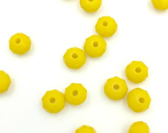 15 faceted 6MM yellow glass