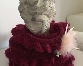 Snood/round neck mohair/silk yarn Peony